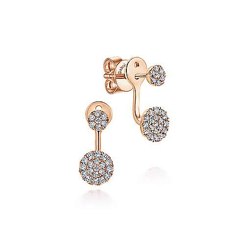 14K Rose Gold Peek A Boo Circle Diamond Earrings