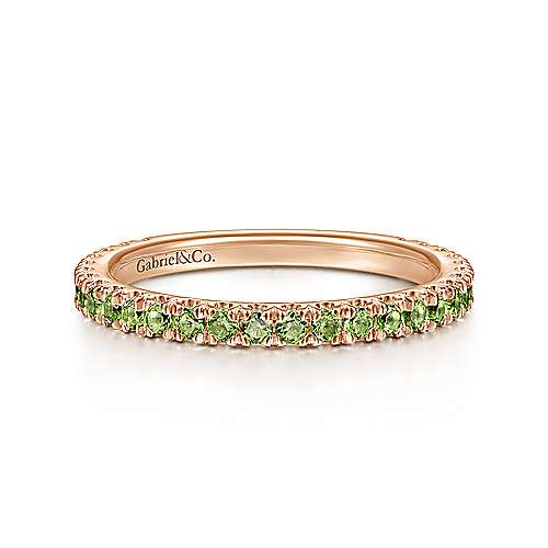 14K Rose Gold Peridot Stacklable Ring