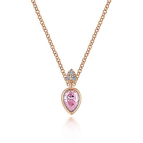 14K Rose Gold Pink Created Zircon Pendant Necklace with Diamond Accents