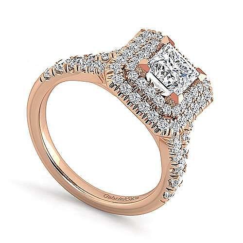 14K Rose Gold Princess Cut Double Halo Diamond Engagement Ring