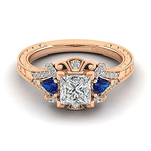 14K Rose Gold Princess Cut Sapphire and Diamond Engagement Ring
