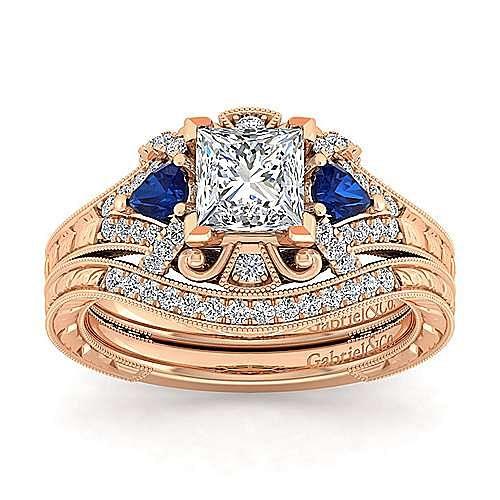 14K Rose Gold Princess Cut Sapphire and Diamond Engagement Ring