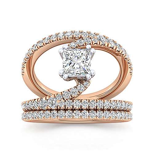 14K Rose Gold Princess Cut Split Shank Diamond Engagement Ring