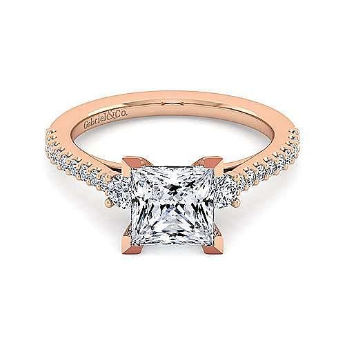 14K Rose Gold Princess Cut Three Stone Diamond Engagement Ring