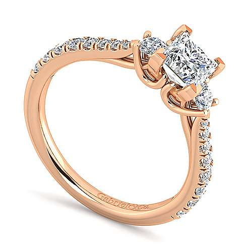 14K Rose Gold Princess Cut Three Stone Diamond Engagement Ring