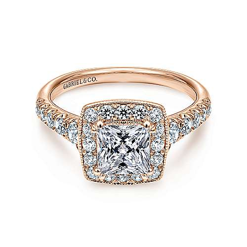 14K Rose Gold Princess Halo Diamond Engagement Ring