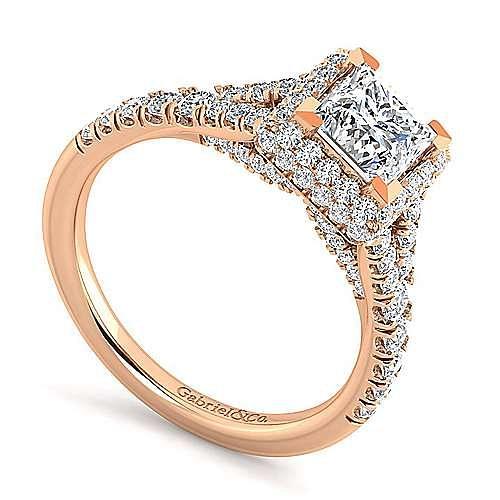 14K Rose Gold Princess Halo Diamond Engagement Ring