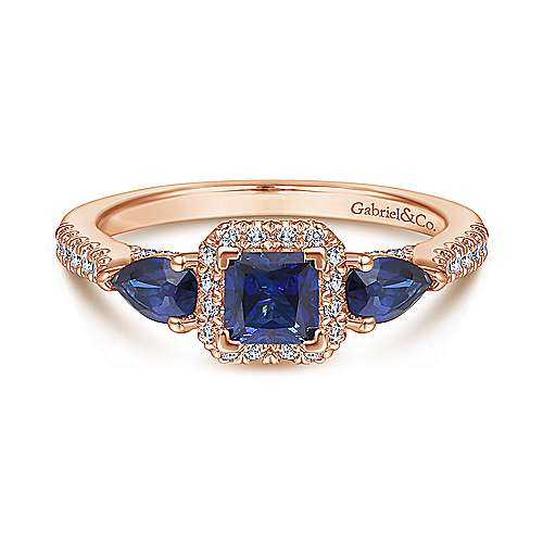 14K Rose Gold Princess Halo Diamond and Sapphire Engagement Ring