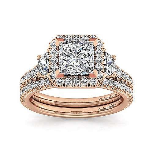 14K Rose Gold Princess Three Stone Halo Diamond Engagement Ring
