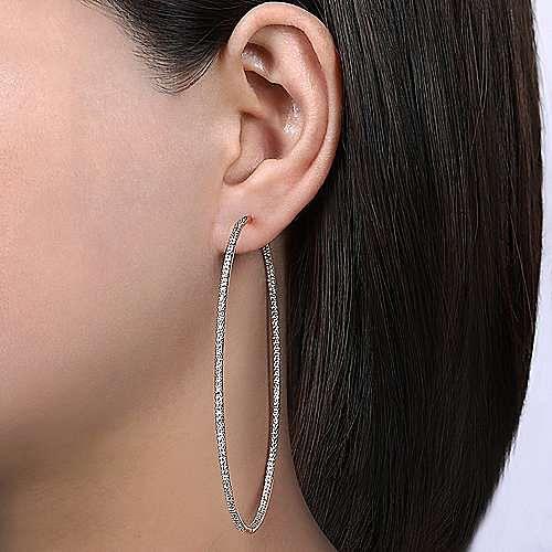 14K Rose Gold Prong Set  80mm Round Inside Out Diamond Hoop Earrings