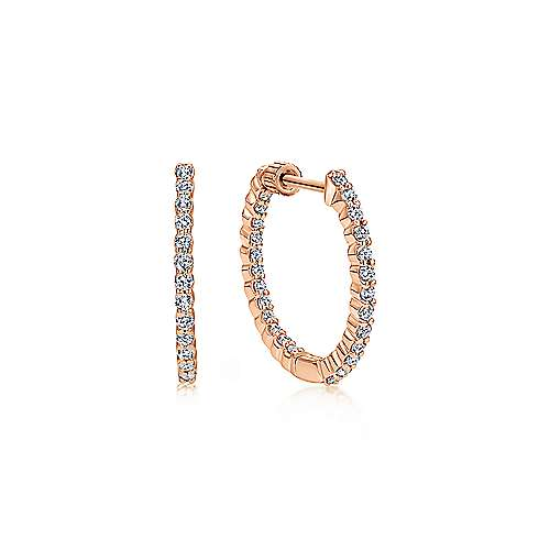 14K Rose Gold Prong Set 20mm Round Inside Out Diamond Hoop Earrings