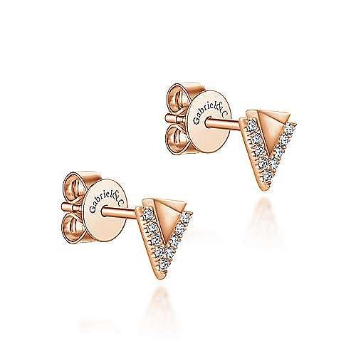 14K Rose Gold Pyramid Diamond Stud Earrings