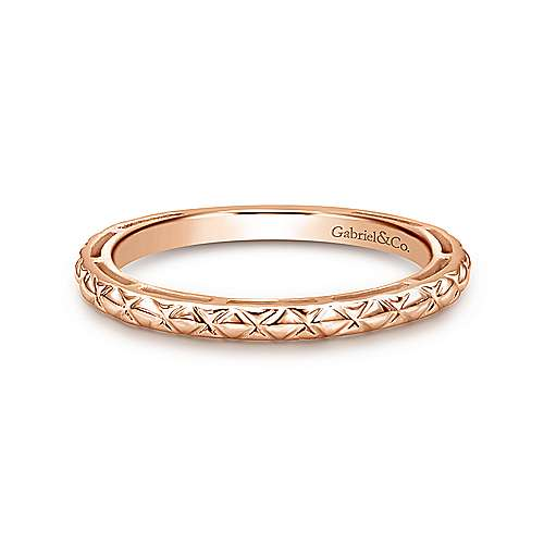 14K Rose Gold Quilted Pattern Stackable  Ring