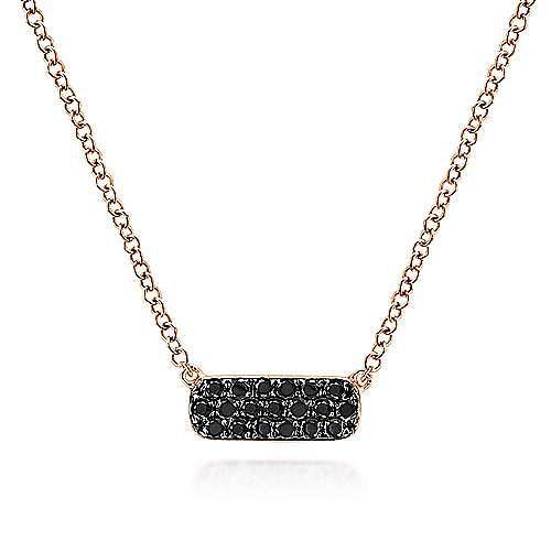 14K Rose Gold Rectangular Black Diamond Pendant Necklace