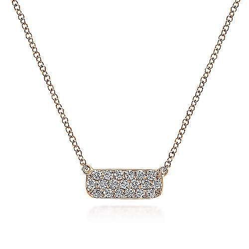 14K Rose Gold Rectangular Diamond Pendant Necklace