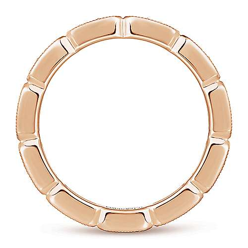 14K Rose Gold Rectangular Station Diamond Eternity Ring
