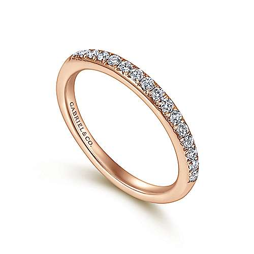 14K Rose Gold Round 16 Stone Diamond Wedding Band