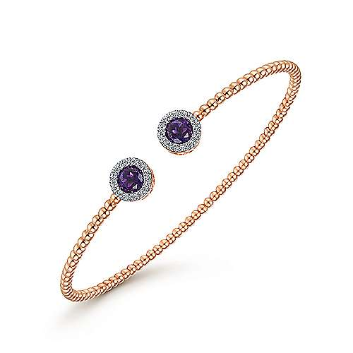 14K Rose Gold Round Amethyst and Diamond Halo Bujukan Bangle
