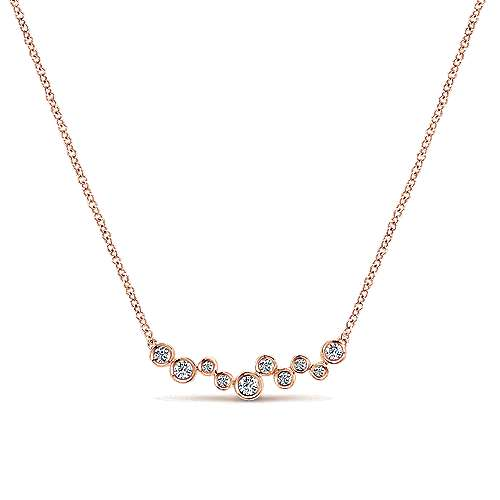 14K Rose Gold Round Bezel Set Diamond Bubble Bar Necklace