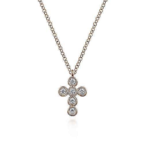 14K Rose Gold Round Bezel Set Diamond Cross Pendant Necklace