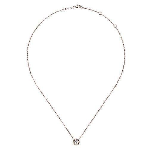 14K Rose Gold Round Bezel Set Diamond Pendant Necklace with Beaded Frame
