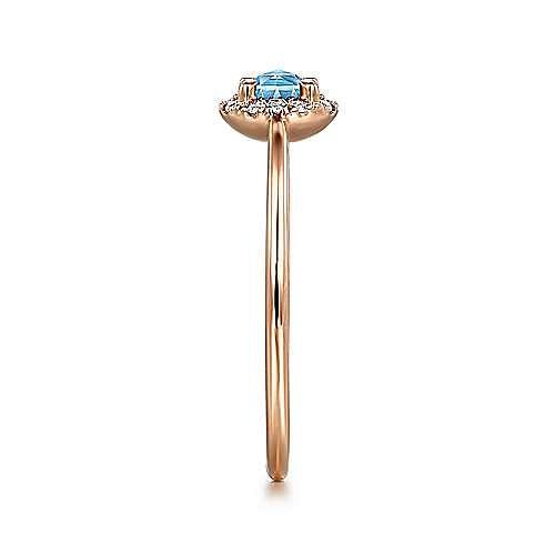 14K Rose Gold Round Blue Topaz and Diamond Halo Ring