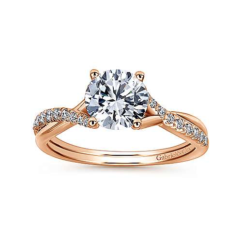 14K Rose Gold Round Diamond Engagement Ring