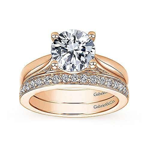 14K Rose Gold Round Diamond Engagement Ring