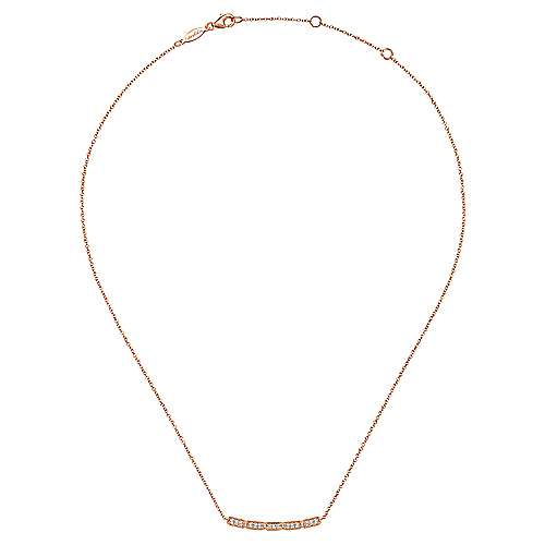 14K Rose Gold Round Floating Diamond Curved Bar Necklace