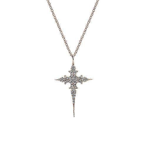 14K Rose Gold Round Floral Diamond Pendant Necklace