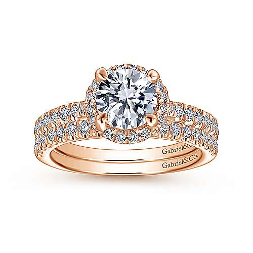 14K Rose Gold Round Halo Diamond Engagement Ring