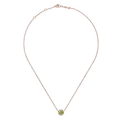 14K Rose Gold Round Lemon Quartz and Diamond Halo Pendant Necklace
