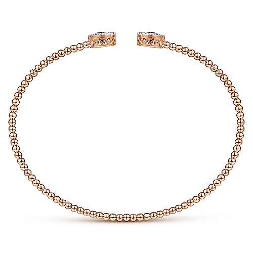 14K Rose Gold Round Manmade Alexandrite and Diamond Halo Bujukan Bangle