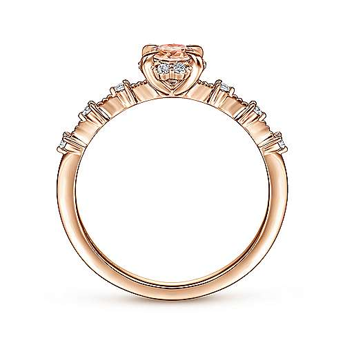 14K Rose Gold Round Morganite and Diamond Halo Ring