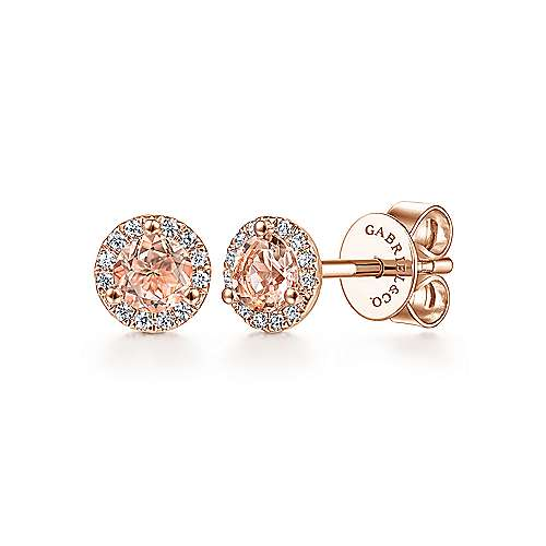 14K Rose Gold Round Morganite and Diamond Halo Stud Earrings