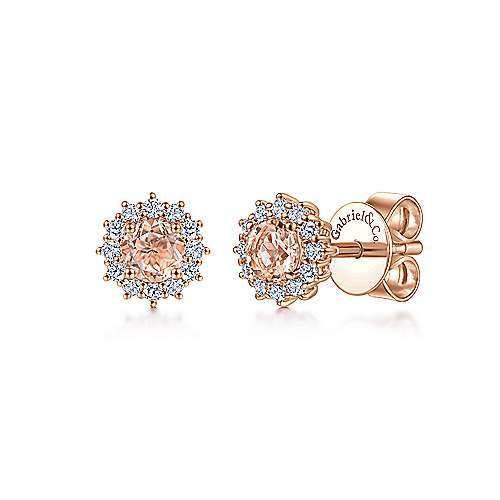 14K Rose Gold Round Morganite and Diamond Stud Earrings
