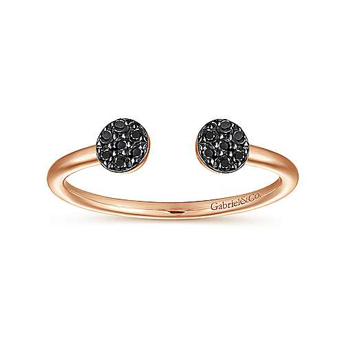 14K Rose Gold Round Pavé Black Diamond Cluster Split Ring