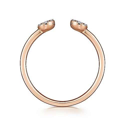 14K Rose Gold Round Pavé Diamond Cluster Split Ring