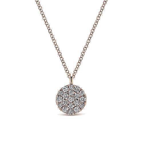 14K Rose Gold Round Pavé Diamond Disc Pendant Necklace