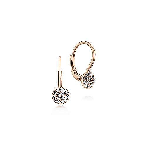 14K Rose Gold Round Pavé Diamond Drop Earrings