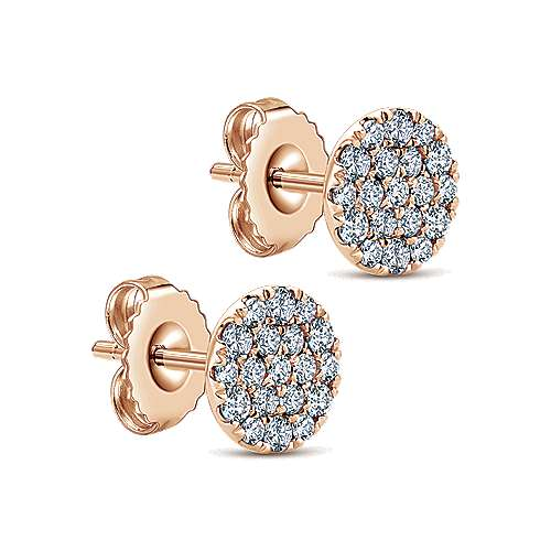 14K Rose Gold Round Pavé Diamond Stud Earrings