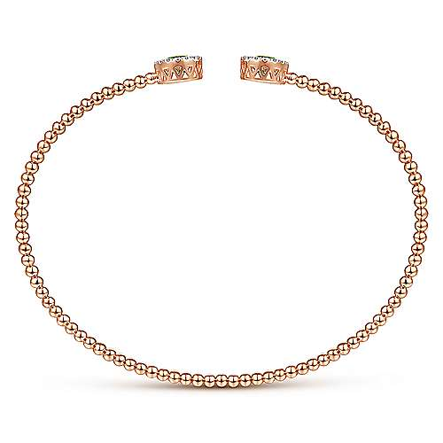 14K Rose Gold Round Peridot and Diamond Halo Bujukan Bangle