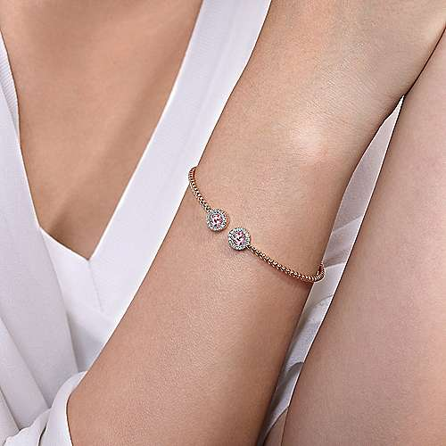 14K Rose Gold Round Pink Zircon and Diamond Halo Bujukan Bangle