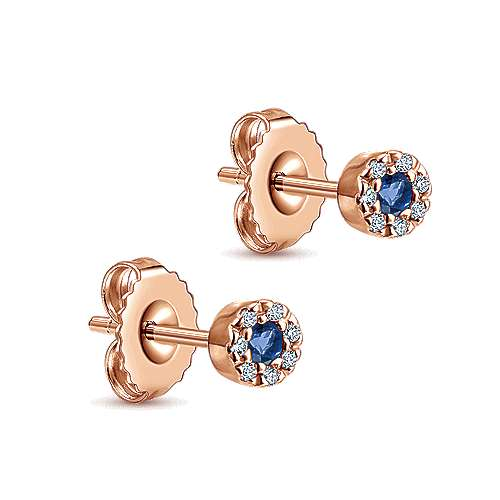 14K Rose Gold Round Sapphire Diamond Halo Stud Earrings