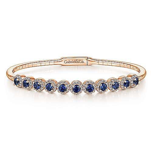 14K Rose Gold Round Sapphire and Diamond Halo Bangle