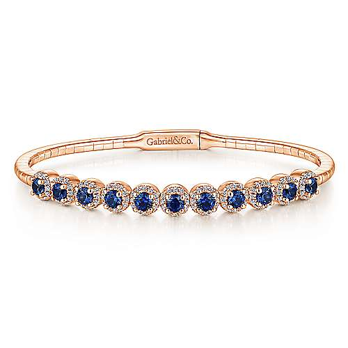 14K Rose Gold Round Sapphire and Diamond Halo Bangle