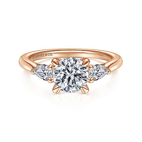 14K Rose Gold Round Three Stone Diamond Engagement Ring