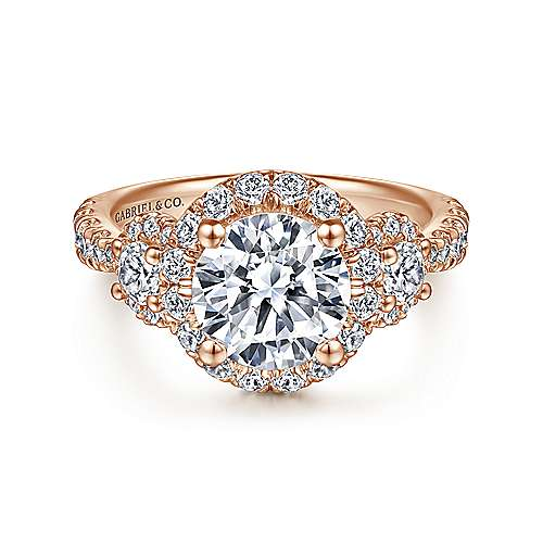 14K Rose Gold Round Three Stone Halo Diamond Engagement Ring