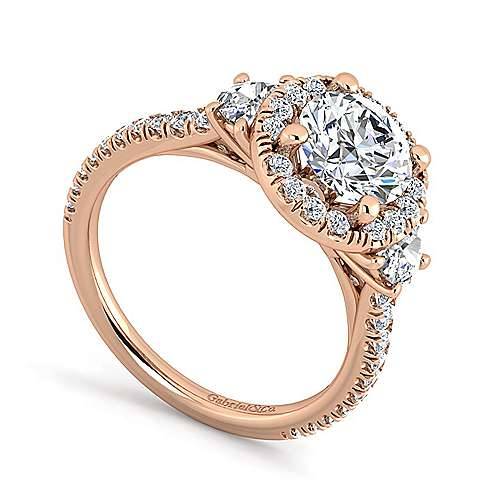 14K Rose Gold Round Three Stone Halo Diamond Engagement Ring