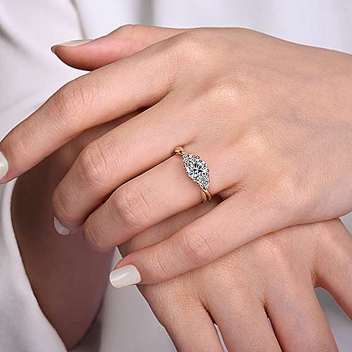 14K Rose Gold Round Twisted Diamond Engagement Ring